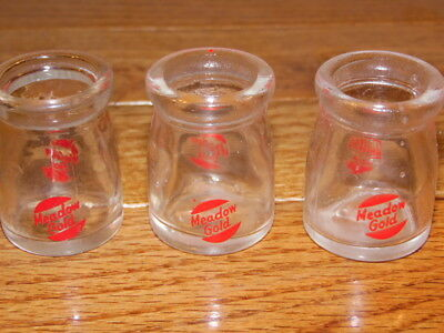 """3 Small Dairy Glass Creamer Bottles MEADOW GOLD - 1-3/4"""""""