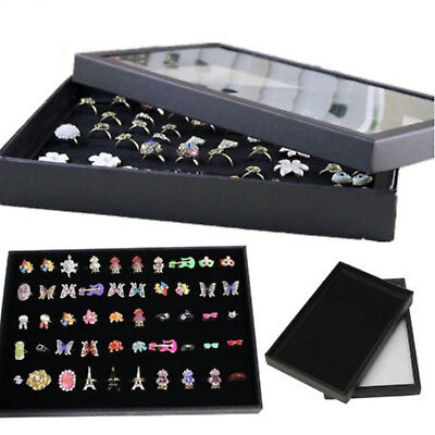 100 Rings Jewellery Display Storage Box  Earring Show Case Organiser Holder GIFT