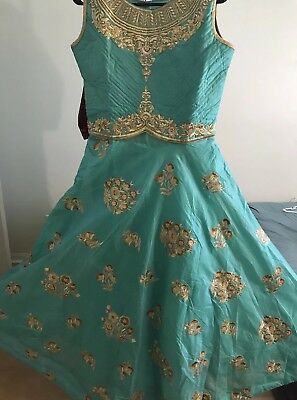 Indian Ethnic Embroidered sea green Silk cotton floor length Anarkali suit set