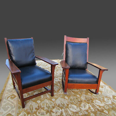 Superb Antique L&jG Stickley Pair of Chairs inv3220