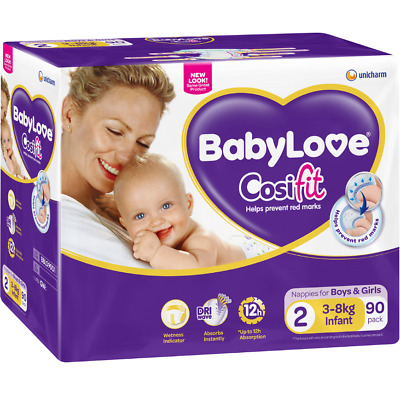 BabyLove Cosifit Jumbo Infant Nappies 3-8kg 90 Pack
