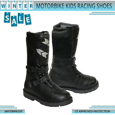 Motorcycle Motorbike Kids Boots Motocross Leather Shoes CE Approved Racing Boota