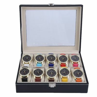 10 Grids Display Leather Watch Case Box Jewelry Storage Holder Organizer Gifts