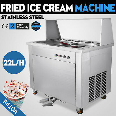 Thai Fried IceCream Machine with Double Pans & Ice Cream Roll Maker