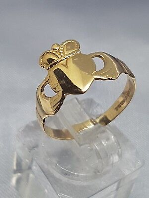 100% Genuine 9Ct Y/ Gold Claddagh Ring Size P - Fully Hallmarked