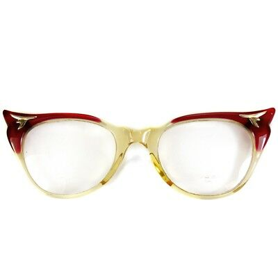 Retro Cat Eye Eyeglasses Glasses Vintage Rockabilly Style 50s Red Wing Tips