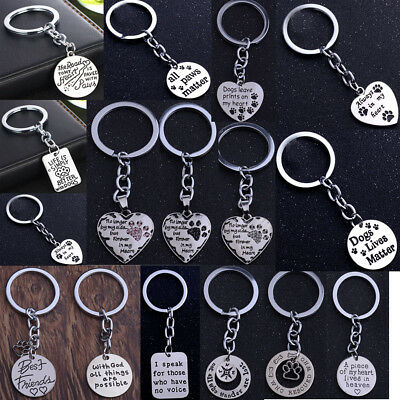 Pet Dog Cat Memorial Heart Pendant Paw Print Keychain  Keyring Key Chain Gifts