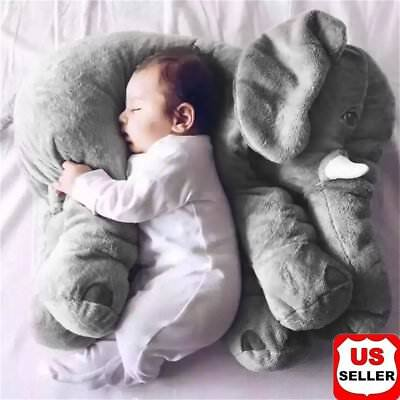 40cm Large Elephant Pillow Plush Baby soft Toy Stuffed Animal Kids Gift Gray  HP