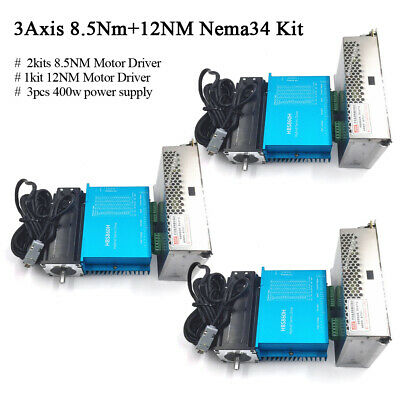 3Axis DSP Closed Loop Stepper Motor 2pc 8.5Nm+1pc 12Nm Drive Nema34+Power Supply