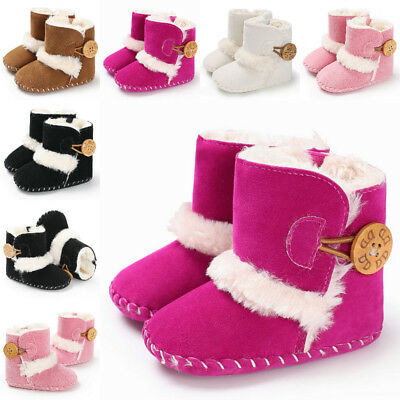 US Newborn Kids Baby Girls Boy Snow Shoes Winter Warm Sole Prewalker Crib Boots