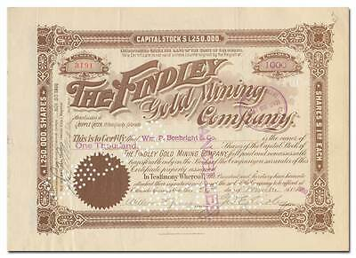 Findley Gold Mining Company Stock Certificate
