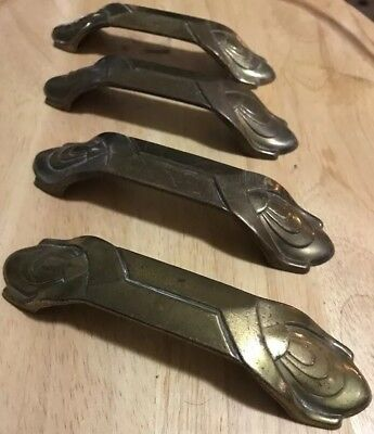 Vintage Antique Drawer Bin Pulls Brass Waterfall Art Deco Set of 4