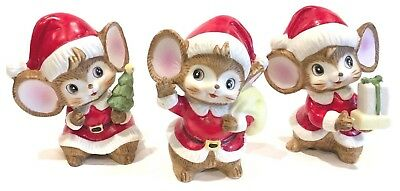 Vintage Homco Ceramic Christmas Mice ~ Set Of 3