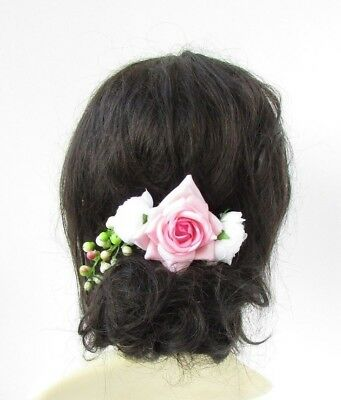 White Blush Light Pink Rose Berry Flower Hair Comb Fascinator Bridal Clip 4804