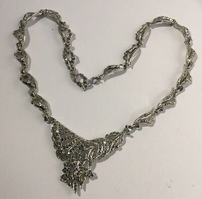 """Vintage beautiful silver metal & marcasite Highly Decorative necklace, 16"""" ,40cm"""