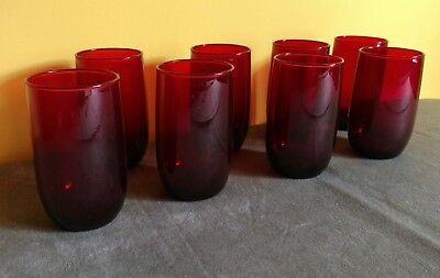 """Set/8 Red Ruby Glasses 9oz 4 1/2"""" Very Good/Excellent Vintage Condition"""