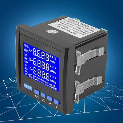 1Pcs Multifunction 3-Phase Electric Current Voltage Power Meter V A Hz kWh RS485