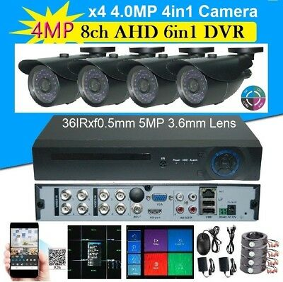 Sunvision 8Ch 6-in-1 4MP Hybrid DVR + 4x 4-in-1 HD 4.0MP In/outdoor Cameras