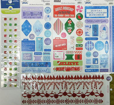 Winter Stickers Lot of 5 Christmas Holiday Snow Theme for Scrapbooking