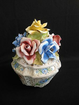 Vtg. Lovely Large Hand Painted Capodimonte Flower Round Open Lattice Centerpiece