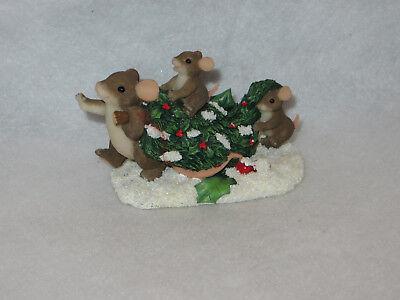 """""""bringing Home The Tree"""" Charming Tails - Fitz Floyd - 87/109 - Mint"""