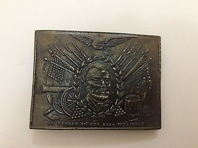 Vintage Abraham Lincoln Belt Buckle Wyoming Studio Art Works W-10 Memory