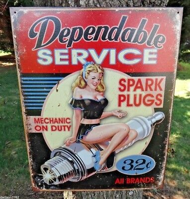 Dependable Service Old Poster Sign Metal Tin Auto Shop Garage Mechanic Picture