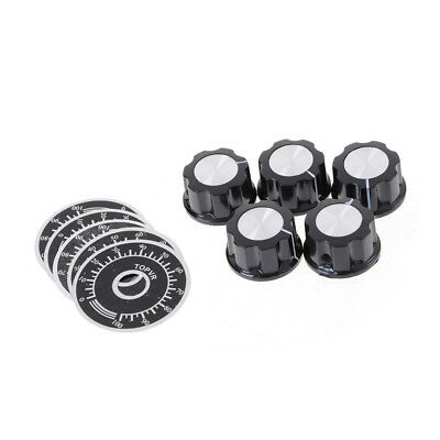 5set Black Rotary Potentiometers Knobs Caps with 5Pcs Counting Dial0-100 ScalZgG