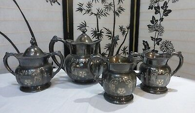 Victorian Silverplate Coffee Tea Serving Set with Beautiful Dark Patina Intact