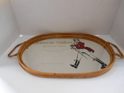 Johnnie Walker Old Scotch Whisky Mirror Wicker Tray With Handles.