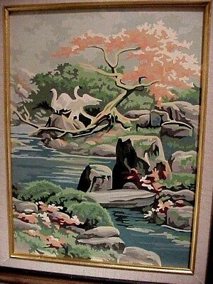 Pair (2) Vintage Paint By Number Asian Gardens Birds Framed Wall Art Picture