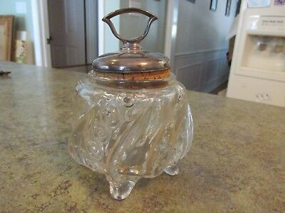 Unusual Shaped Antique Pressed Glass Jar with Silverplate and Cork Lid