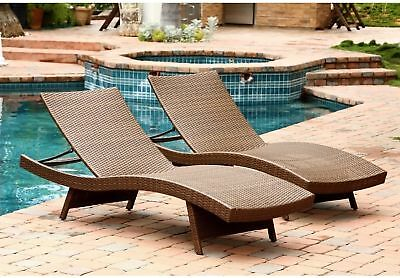 Outdoor Brown Wicker Chaise Lounge Set Chair Poolside Patio