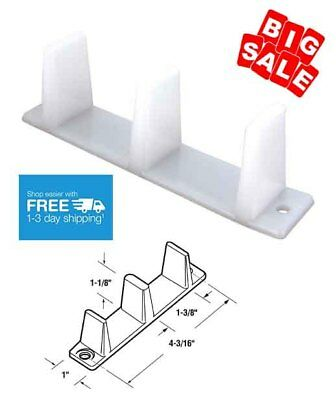 2 White Prime-Line Products N 6563 Sliding Closet Door Bottom Guide 4 3/16''