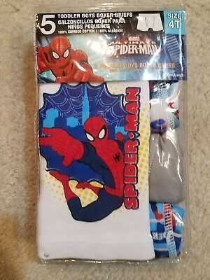 Marvel Boy's 5 Pack Spiderman Theme Boxer Briefs Multi-Color  Size 4T NWT