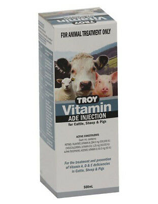 TROY VITAMIN ADE INJECTION, 500ML, Cattle, Sheep, Calves, Lambs