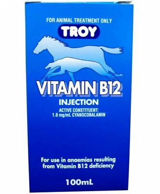 Troy Vitamin B12 Injection for Horses and Dogs 100mL