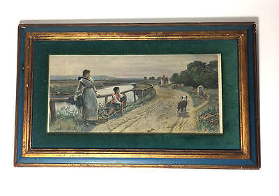 Antique Steel Engraving Framed Art Home Again engraved by Charles Cousen