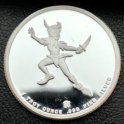 Disney's Peter Pan All Around The World Proof 1 ozt .999  Silver Coin (3930)