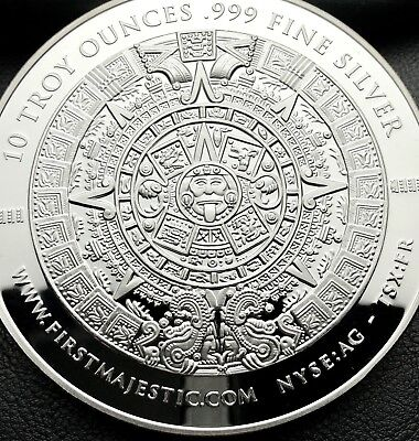 2017 First Majestic Aztec Calendar 10 Troy ounce .999 Fine Silver Coin (4902)