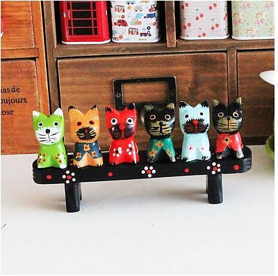 6 Decorative Multi-colored Wooden Cat Figurines Statue Sculpture Cat Lover Gift
