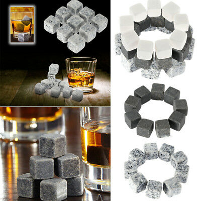 9Pcs Whisky Ice Stones Wine Drinks Cooler Cubes Whiskey Rocks Granite Pouch Hot