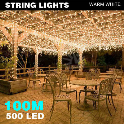 100M 500LED Fairy String Lights Warm White Outdoor Wedding Christmas Party