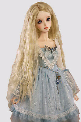 BJD Ball-jointed Doll SD Super Dollfie Centre Parting Hair Piece Curly Wig