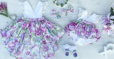 US Toddler Kids Baby Girls Sister Matching Floral Jumpsuit Romper Dress Outfits
