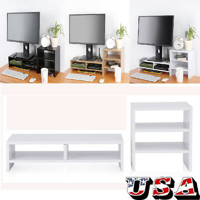Computer Monitor Riser Desk Table LED LCD TV Stand Desktop Laptop +3-Layer Shelf