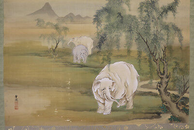 "JAPANESE HANGING SCROLL ART Painting Scenery ""Elephant"" Asian antique  #E8920"