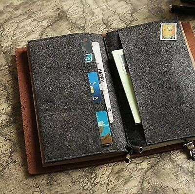 Felt Fabric Insert for Midori Travelers Notebook Credit Card Holder Pockets