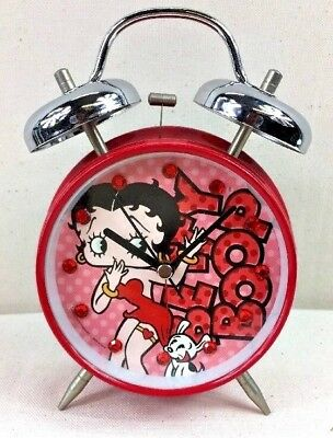 Betty Boop Red Alarm Clock With Gems Inside Pre-Owned in Working Condition