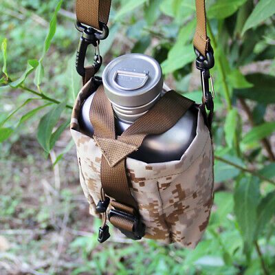 Titanium Army Canteen 1100ml Water Bottle+700ml Cup Folding Handle Lunch Box&Bag